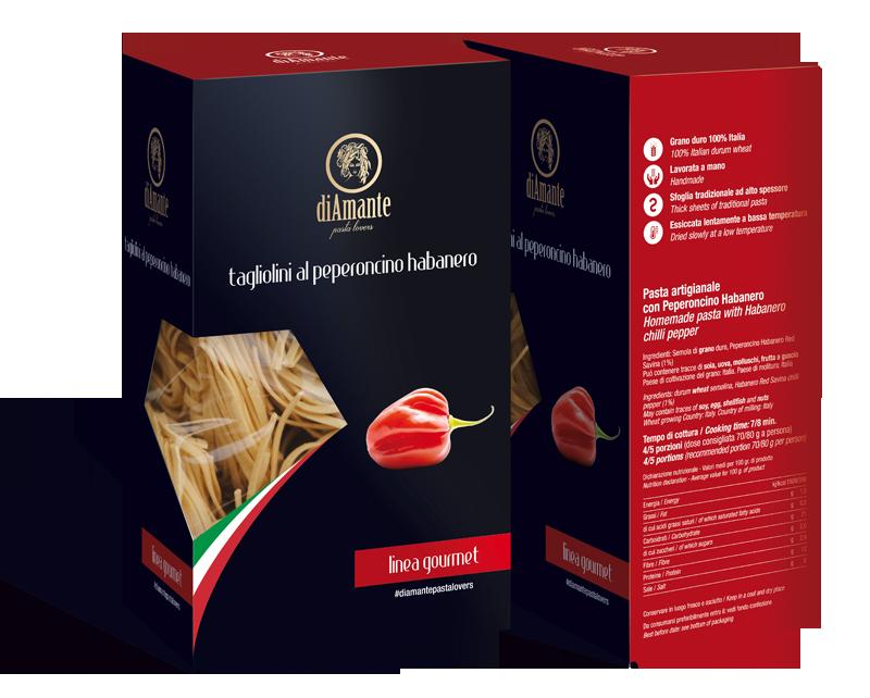 pack d'esempio per la linea gourmet: tagliolini al peperoncino habanero
